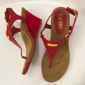 NWOT Lauren Ralph Lauren Wedge Heel Sandals